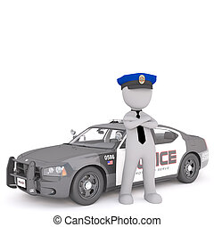 3d policeman standing next to his patrol car with folded...