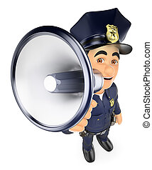 3D Policeman talking on a megaphone