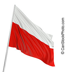 3D Polish flag with fabric surface texture. White...