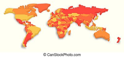 3D political map of World. Vector illustration