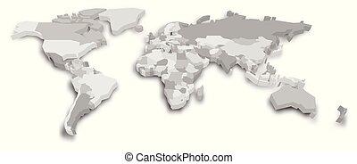 3D political map of World. Vector illustration