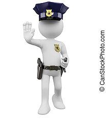3d, politie, met, geweer, en, nightstick, bestellen, om op...