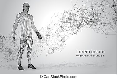 3D Polygona Human on Abstract Space Background with Connecting Dots and Lines