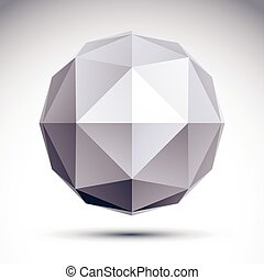3D polygonal geometric object, vector abstract design...