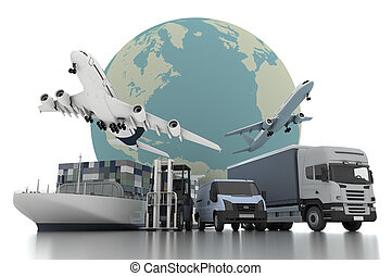 3d, por todo el mundo, carga, transporte, concepto