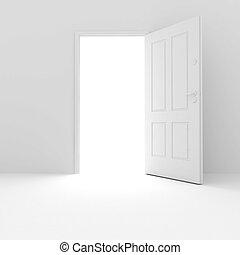3d, porta, em, fundo branco