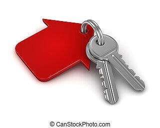 3d, portachiavi, con, rosso, casa