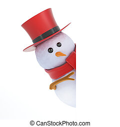 3d Posh snowman peeping - 3d render of a snowman in a top...
