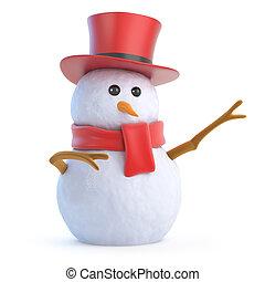 3d Posh snowman points - 3d render of a snowman in a top hat...