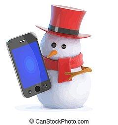 3d Posh snowman smartphone - 3d render of a snowman in a...