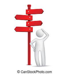 3d, posição homem, frente, um, sinal estrada