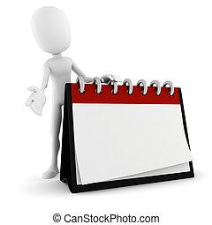 3d, posição homem, perto, um, em branco, calendário