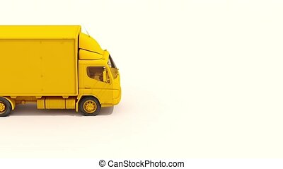 3d Postal Truck Move from Left to Right