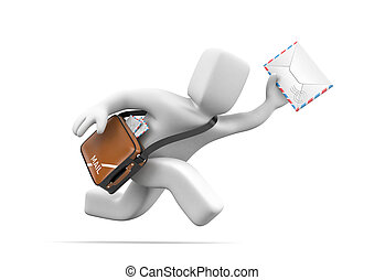 3d postman running delivering letter. 3d illustration