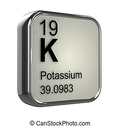 3d Potassium element - 3d render of the potassium element...