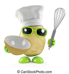 3d Potato chef with whisk - 3d render of a potato dressed as...