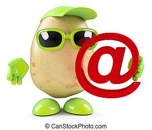 3d Potato holding an email address symbol - 3d render of a ...