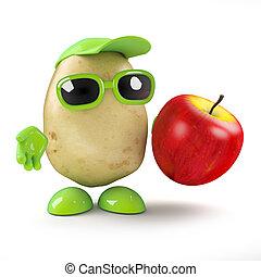 3d Potato man has an apple