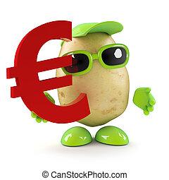 3d Potato man has Euro currency symbol