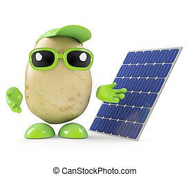 3d Potato man with a solar panel