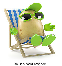 3d Potato sunbathing - 3d render of a potato sunbathing