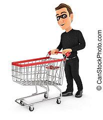 3d, pousser, chariot, supermarché, voleur