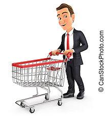 3d, pousser, trolley supermarché, homme affaires