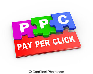 3d rendering of puzzle pieces presentation of ppc - pay per click