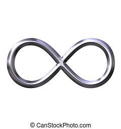 3d, prata, infinidade, símbolo