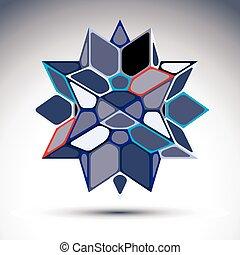 3d precious stone, indigo geometric stylish figure. Vector transform polygonal design object.