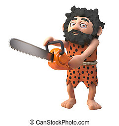 3d prehistoric caveman character using a chainsaw, 3d illustration render