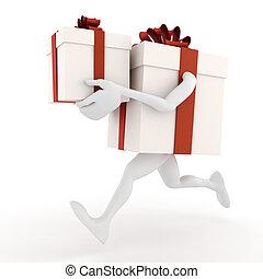 3d present box holding a present