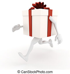 3d present box with arms and legs, running like hell