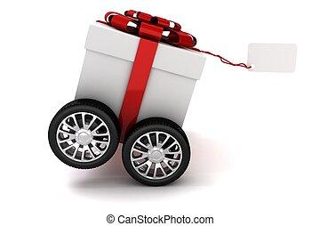 3d, presente, caja, con, arco rojo, en las ruedas