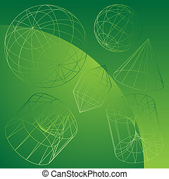 3D Primitive Shapes Green - Wire frame geometric shape...