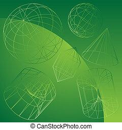 3D Primitive Shapes Green - Wire frame geometric shape...