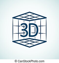 Icon with 3d print concept. 3d print in box