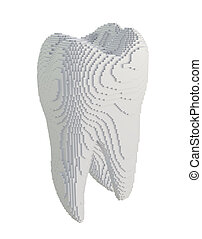 3d printed tooth isolated on white background