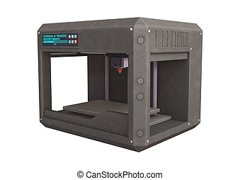 3D Printer - 3D digital render of a three dimensional...