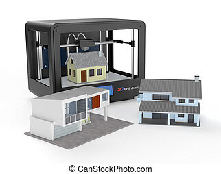 3d printer and house building, concept