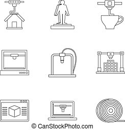 3d printer construct icon set, outline style