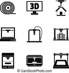 3d printer construct icon set, simple style