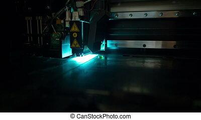 3D printer during printing operation - 3D Printer (Polyjet)....