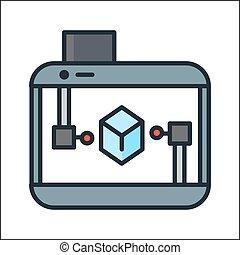 3d printer icon  color