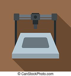 3D printer icon, flat style