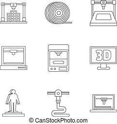 3d printer icon set, outline style