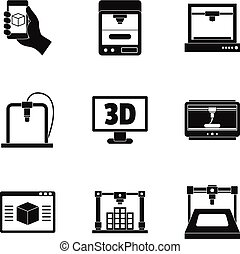 3d printer icon set, simple style