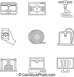 3d printer innovation icon set, outline style