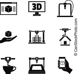 3d printer innovation icon set, simple style