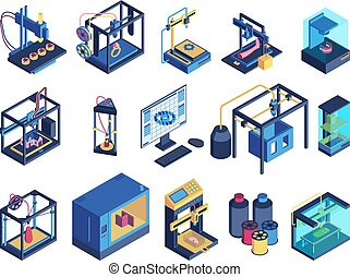 3d, printer, isometric, set